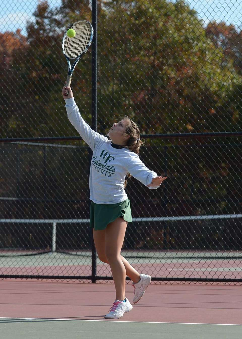 Christina Cali of William Floyd serves to Vanessa