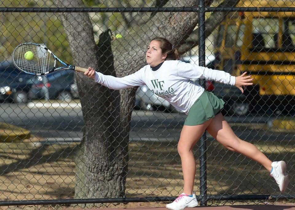 Christina Cali hits a running forehand return during