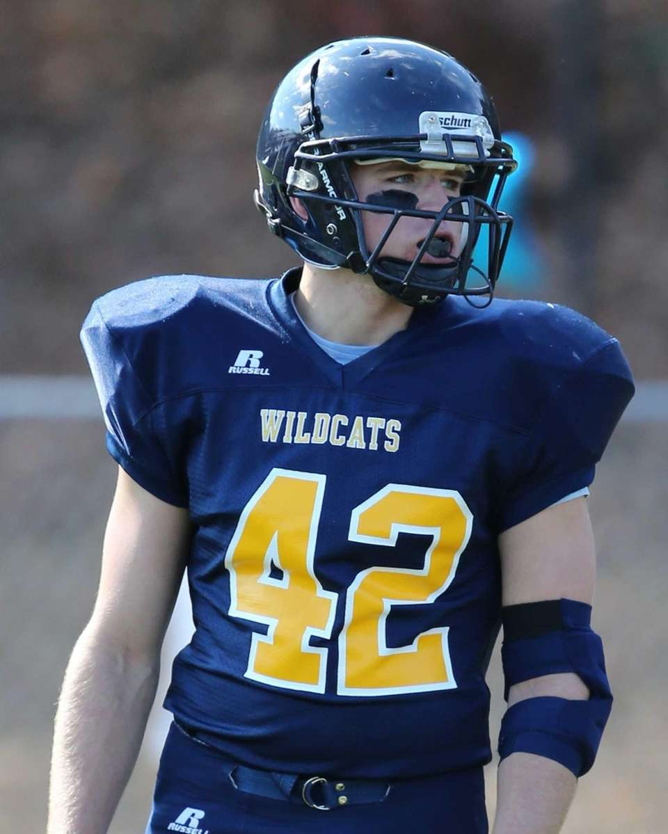 Shoreham-Wading River running back Tyler Anderson waits for