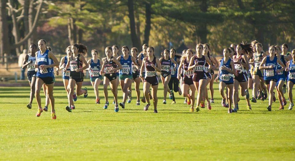 Calhoun's Grace Moore, far left, leads the pack