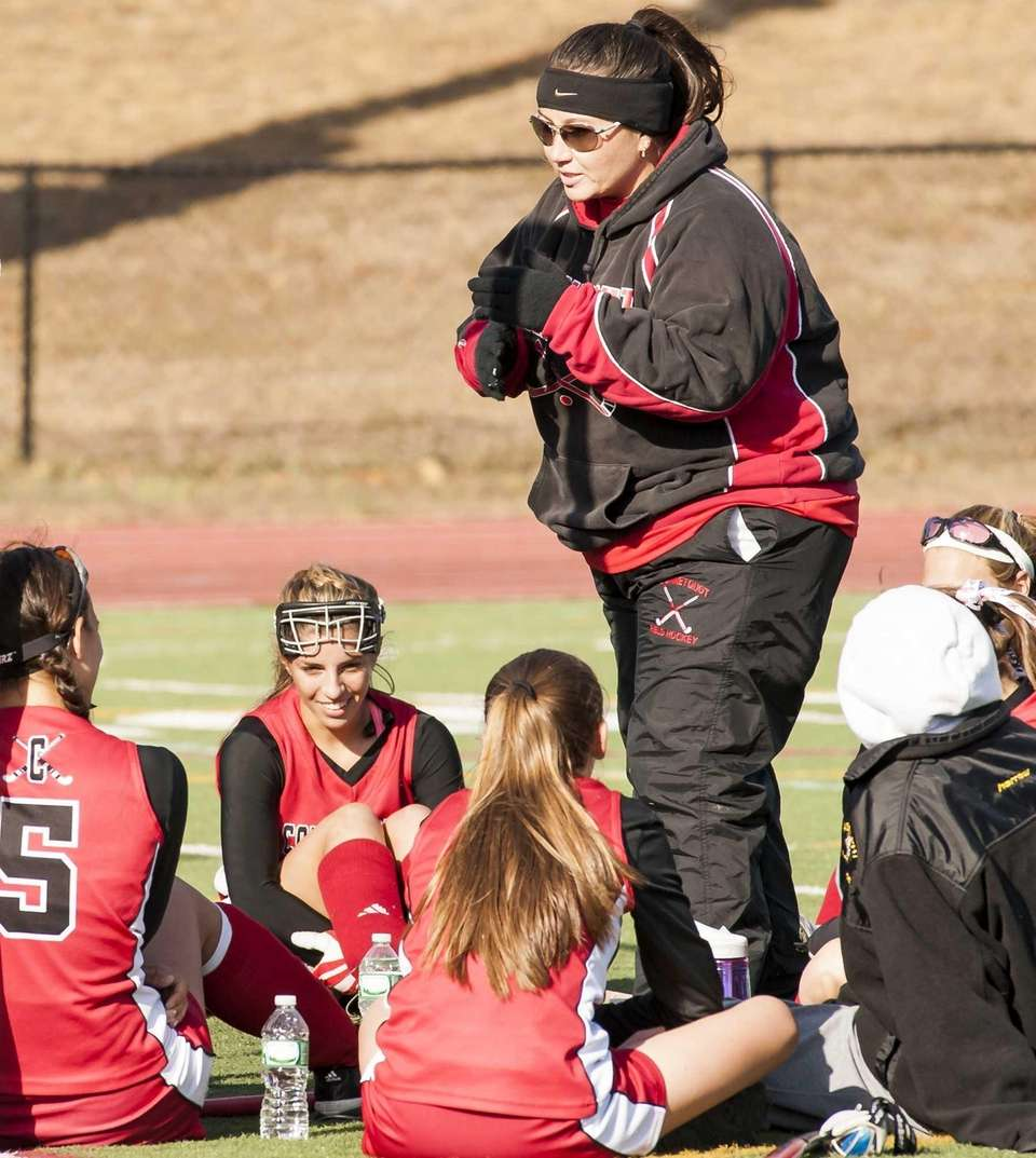 Connetquot's head coach Jennifer Piscitelli speaks to her