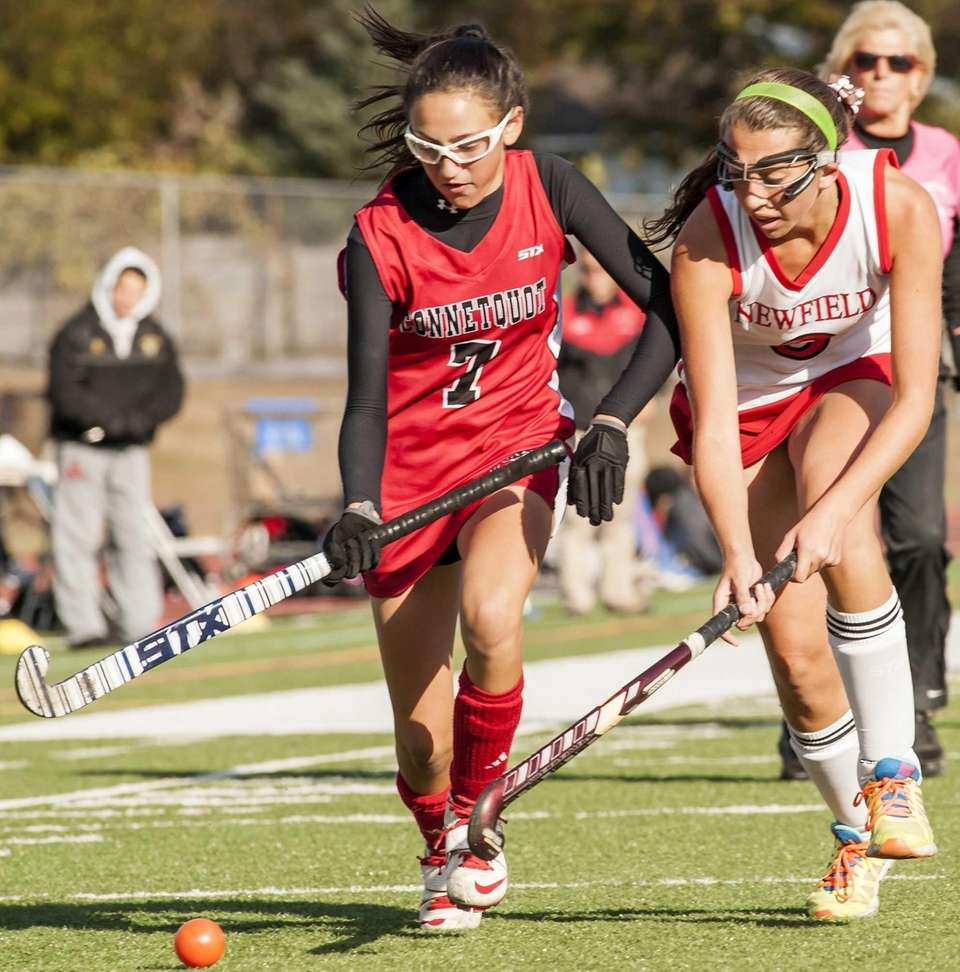 Connetquot's Gabrielle Martinez (left) chases after he ball