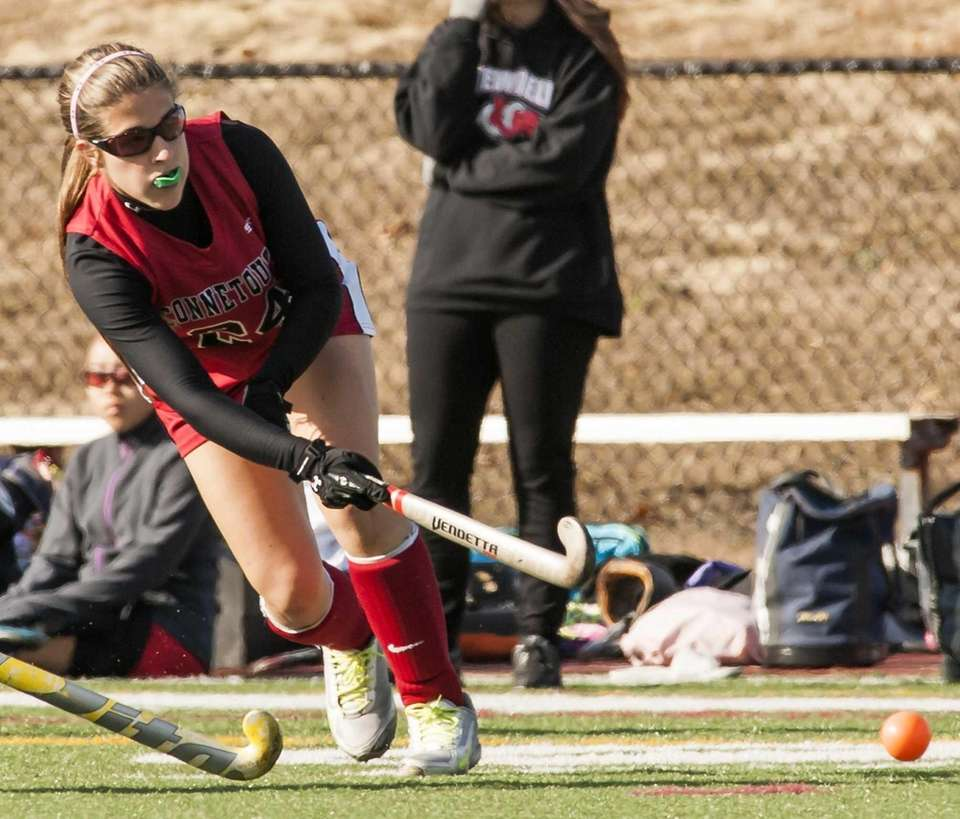 Connetquot's Erin Massmann takes a shot against Newfield