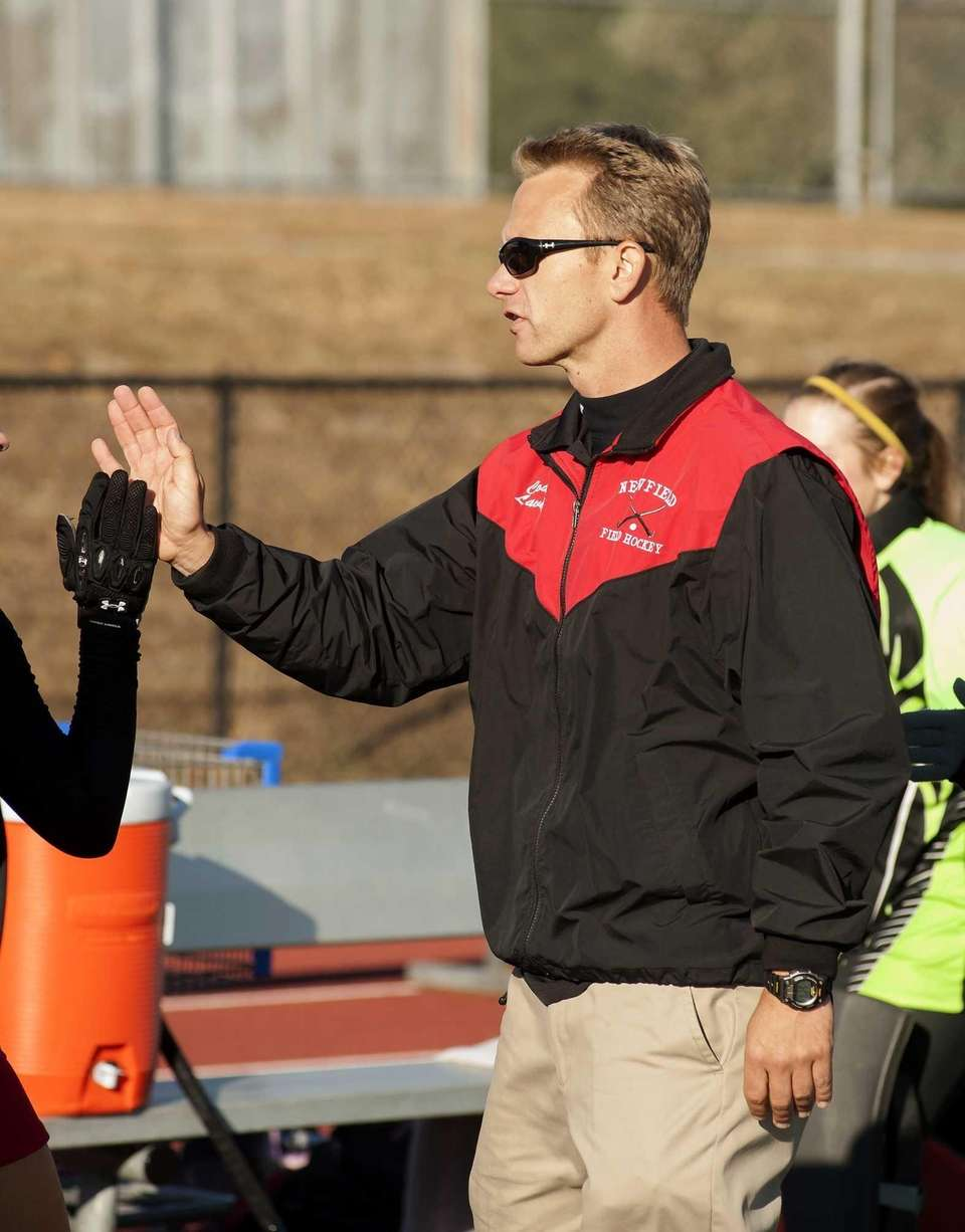 Newfield's head coach Martin Laverty is seen during