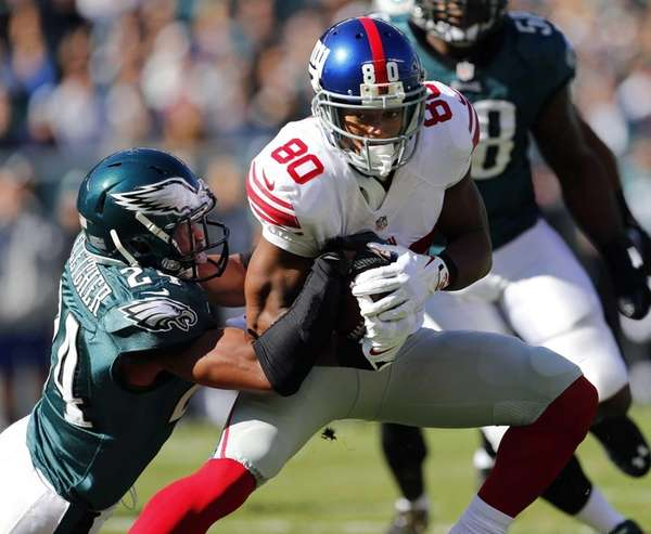 Giants wide receiver Victor Cruz (no. 80) is