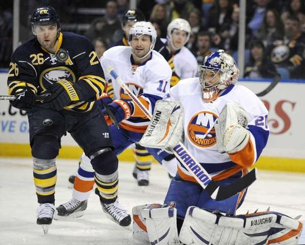 Buffalo Sabres' left winger Thomas Vanek eyes the