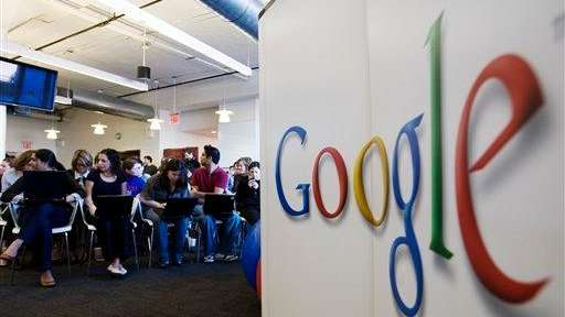Google employees wait for the visit of New