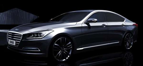 A rendering of Hyundai's 2015 Genesis sedan features