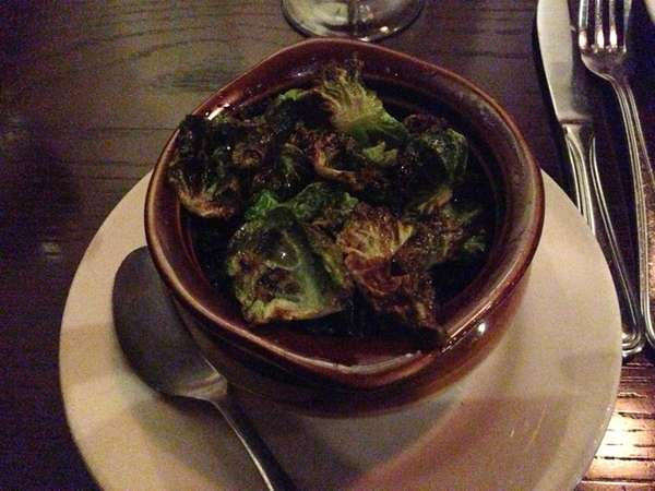 Burnt Brussels sprout leaves at Jackson's in Commack.