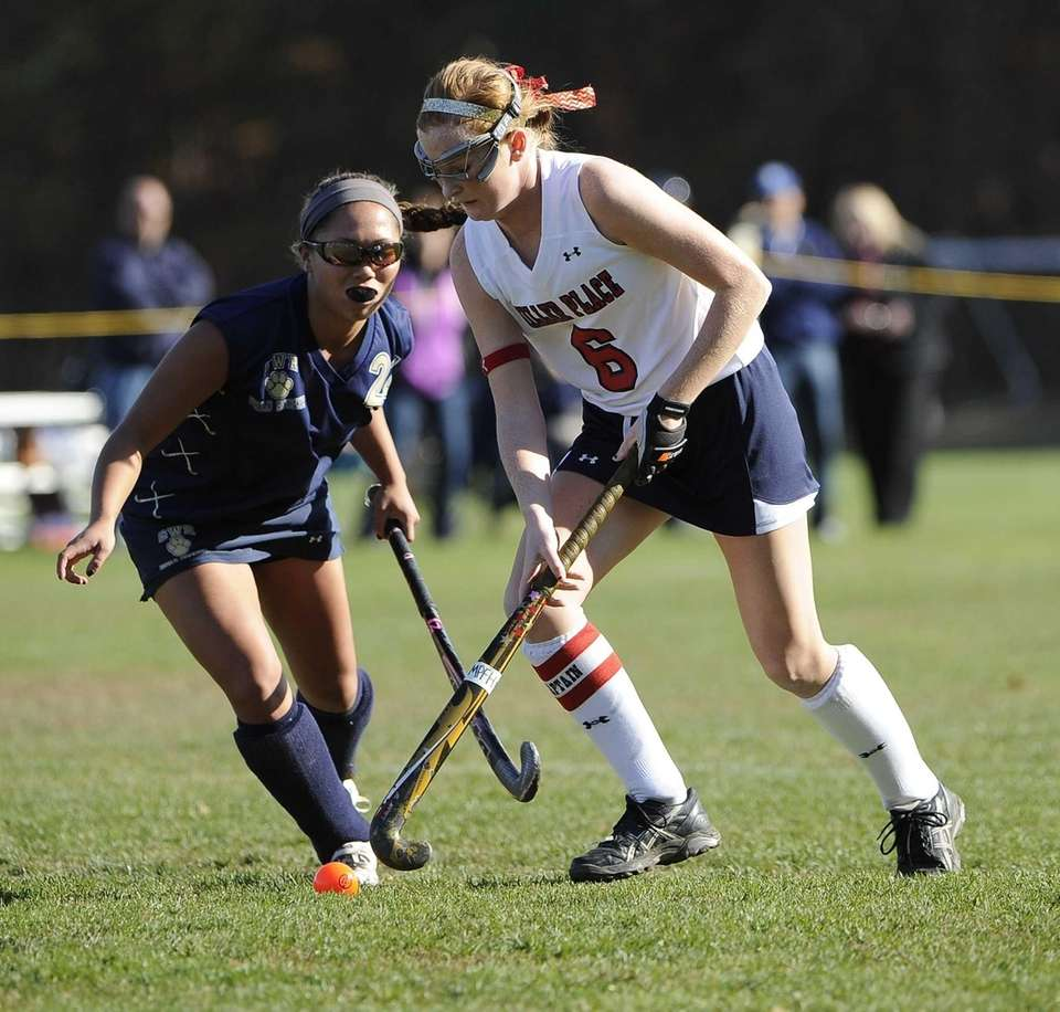 Miller Place's Maggie Revera controls the ball ahead