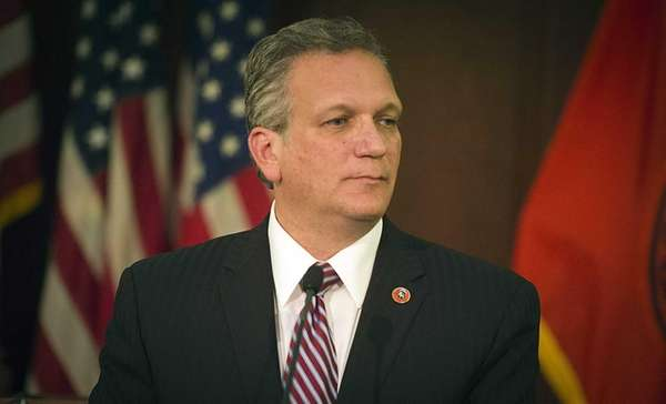 Nassau County Executive Edward Mangano speaks during a