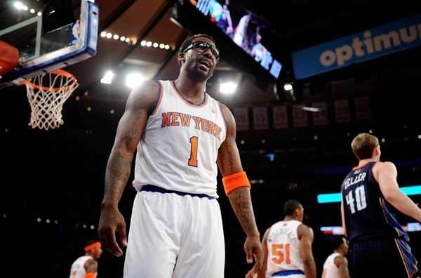 Amar'e Stoudemire reacts after a play in the
