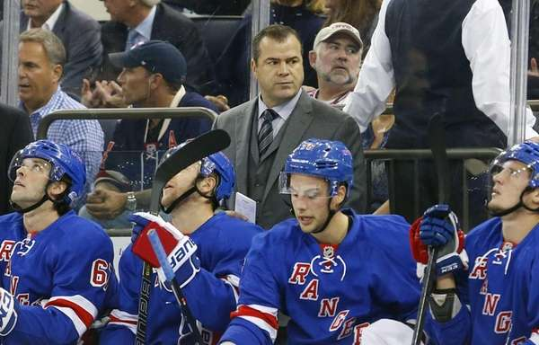 Head coach Alain Vigneault of the Rangers looks