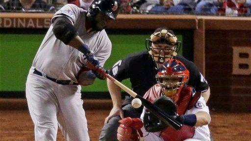 Boston Red Sox first baseman David Ortiz hits