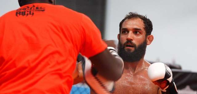 UFC welterweight Johny Hendricks trains during a workout