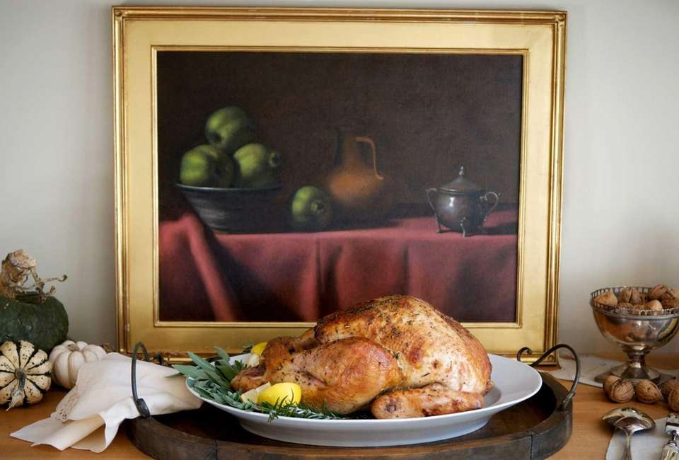 CIDER-BRINED TURKEY: The drippings from the aromatic turkey