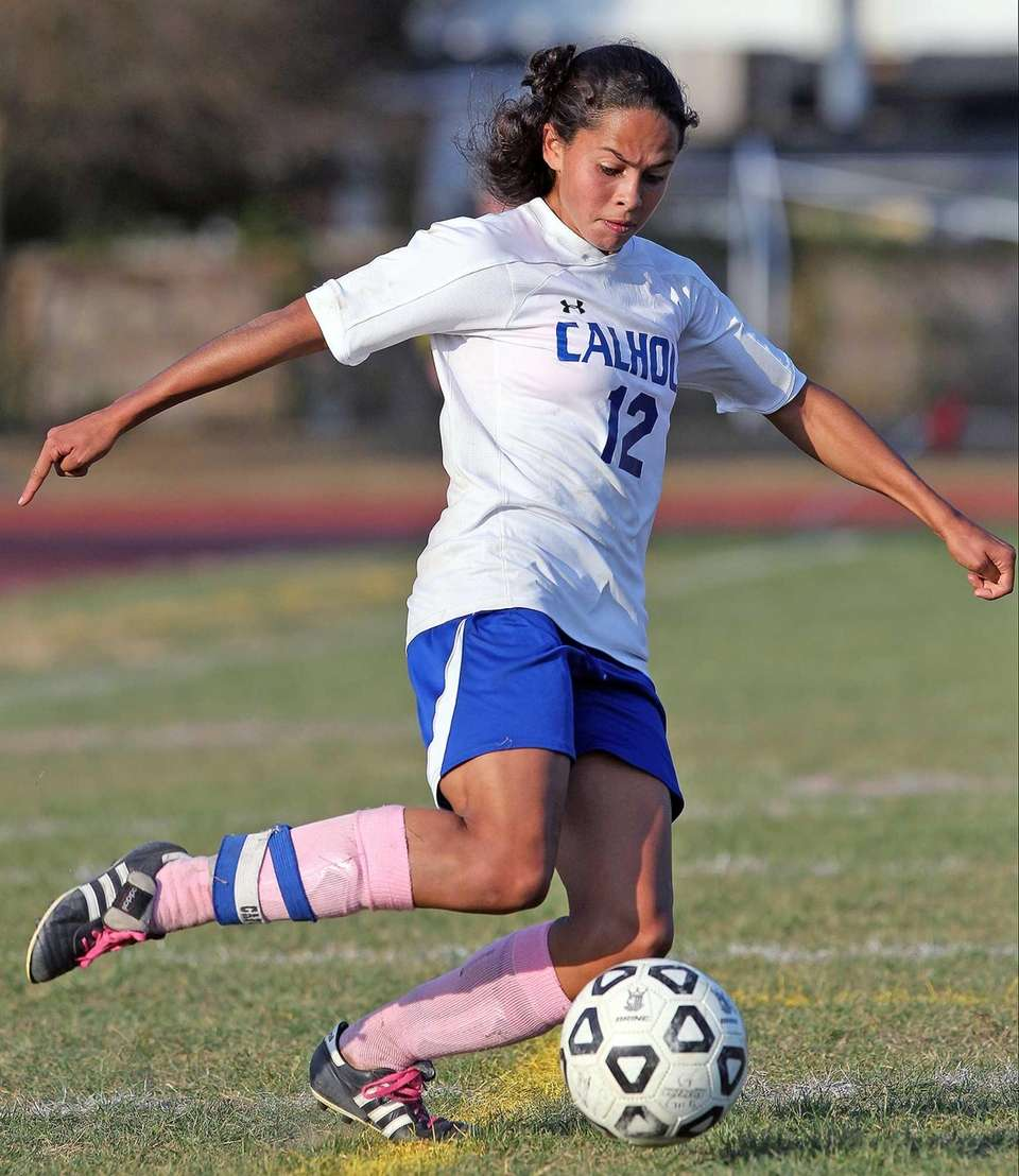 Calhoun's Kayla Cappuzzo fires a shot on goal