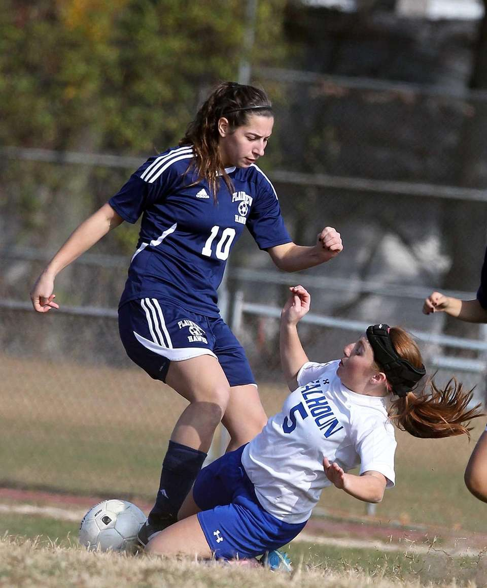 Calhoun's Jessica Foley goes for the slide tackle
