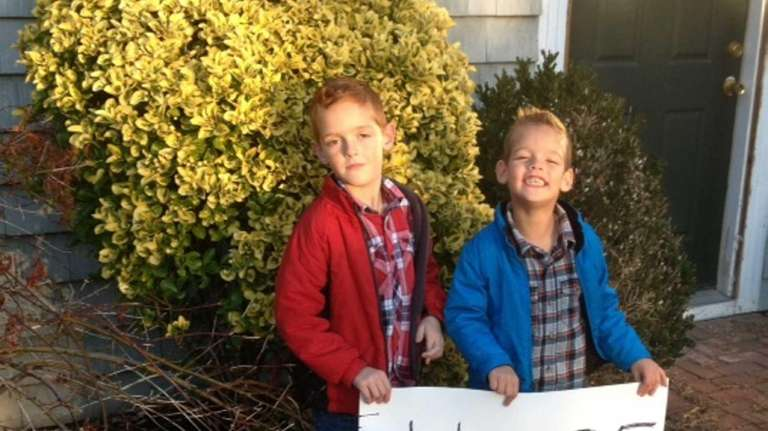 Noah Norinder, 5, of Babylon, left, and his