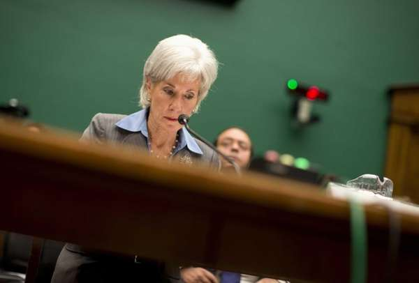Health and Human Services Secretary Kathleen Sebelius pauses