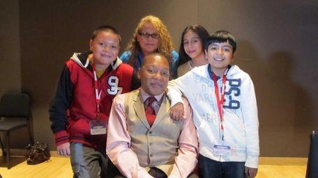 Kidsday reporters (l) Anthony Sosa, Crystal Moran, Kathy