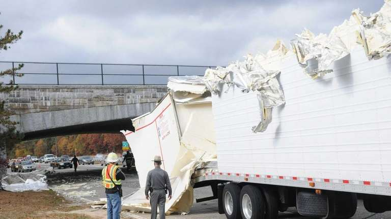 The trailer of this rig was heavily damaged