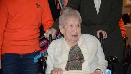 Goldie Steinberg arrives for her 113th birthday party