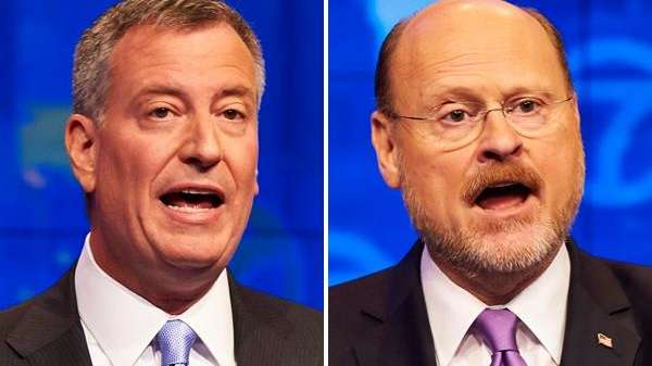 Mayoral candidates Bill de Blasio and Joe Lhota.