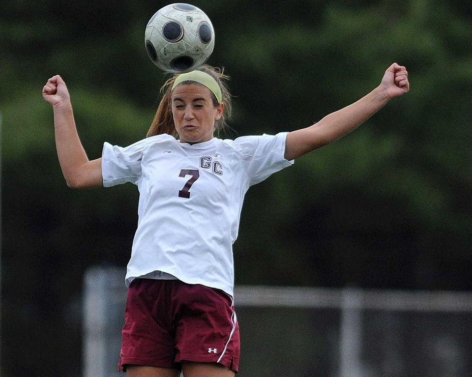Garden City defender Caroline Beaty makes a header