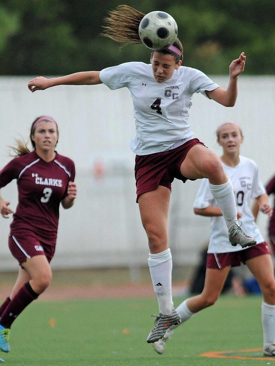 Garden City midfielder Haley O'Hanlon makes a header