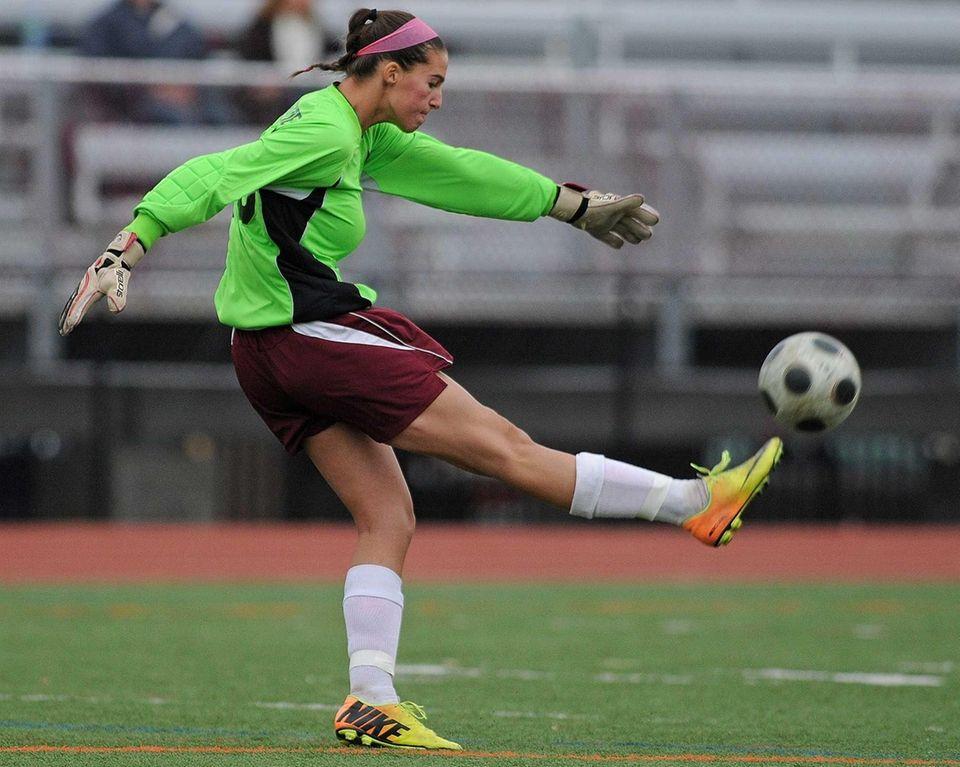 Garden City goalie Taylor Carpentier kicks a ball