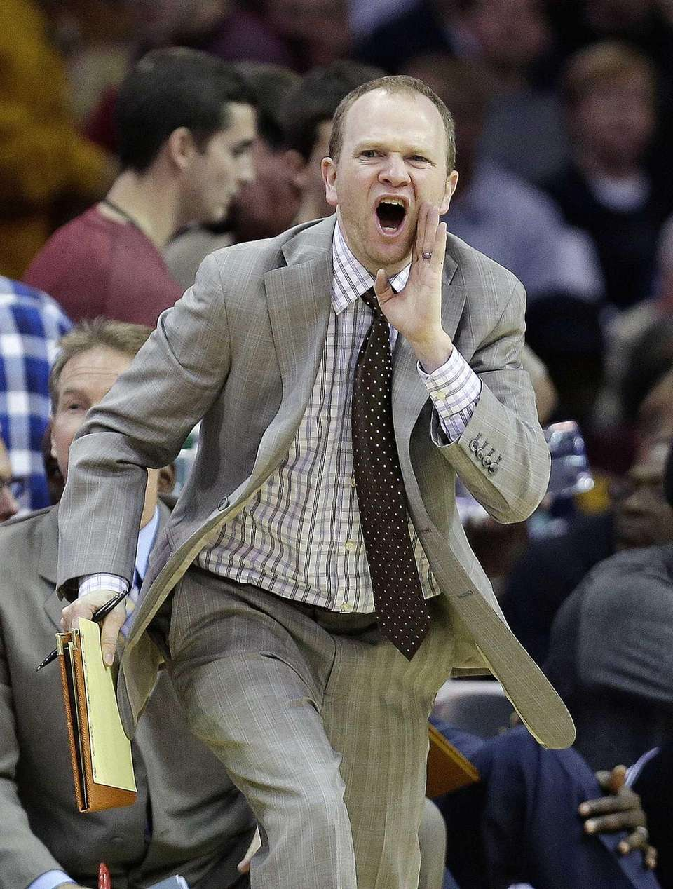 Nets assistant coach Lawrence Frank reacts during the