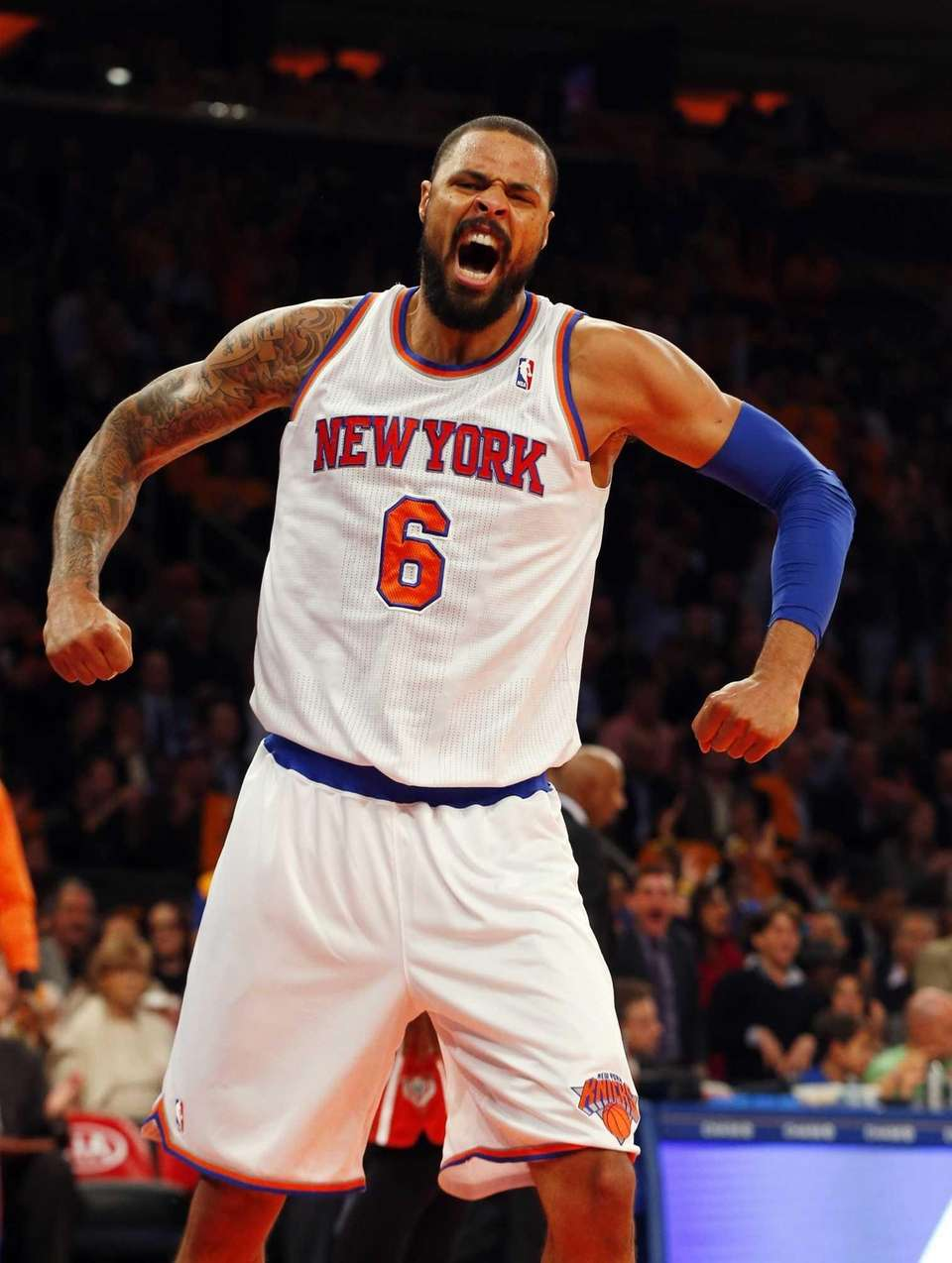 Tyson Chandler of the Knicks reacts after his