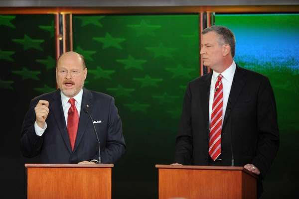 New York City mayoral candidates Joe Lhota, left,