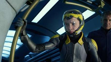 Asa Butterfield, left, and Harrison Ford in a