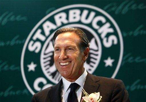 Starbucks Corp. CEO Howard Schultz smiles during a