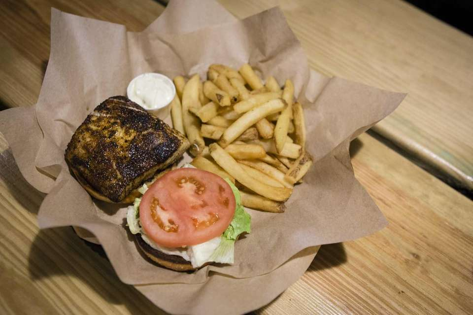The blackened mahi mahi sandwich is smoky and