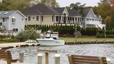 Homes along the Connetquot River in Great River