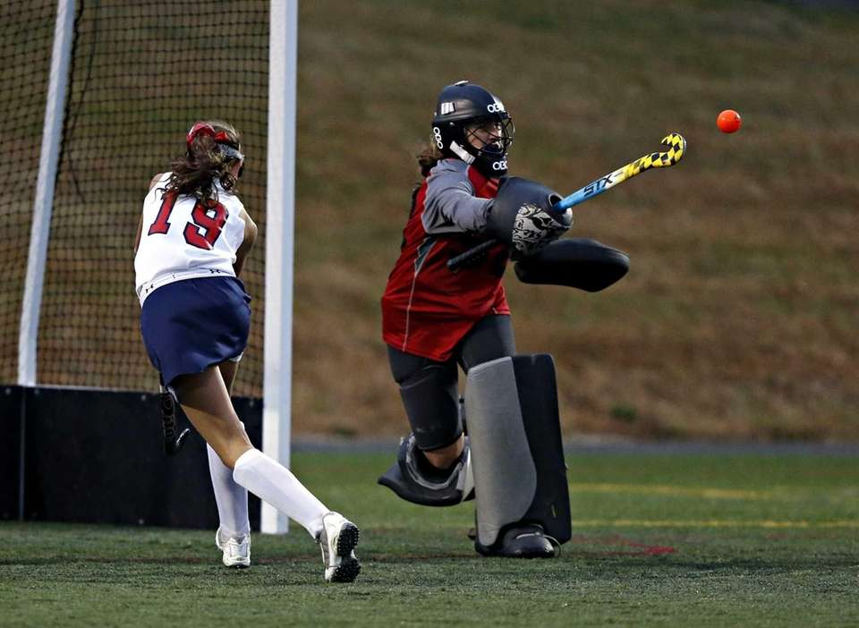 Sayville goalie Annah Murphy makes the stick save