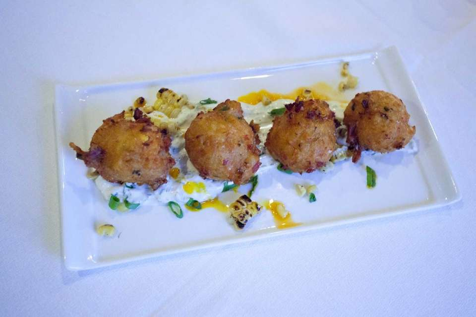 Shrimp and crab fritters, served with roasted corn