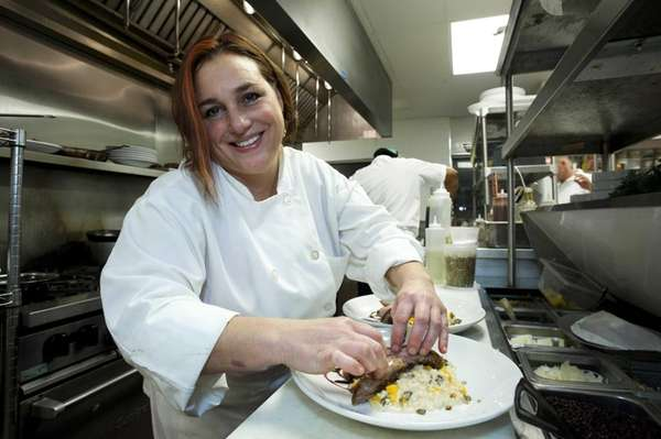 Chef Lia Fallon works in her kitchen at
