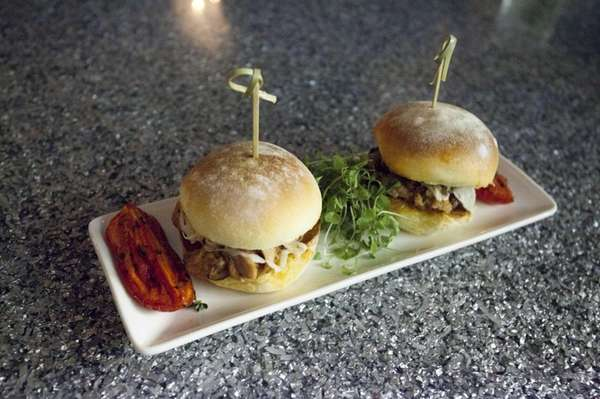 The smoked barbecue pork belly sliders, seen in