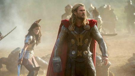 Chris Hemsworth as superhero Thor in a scene