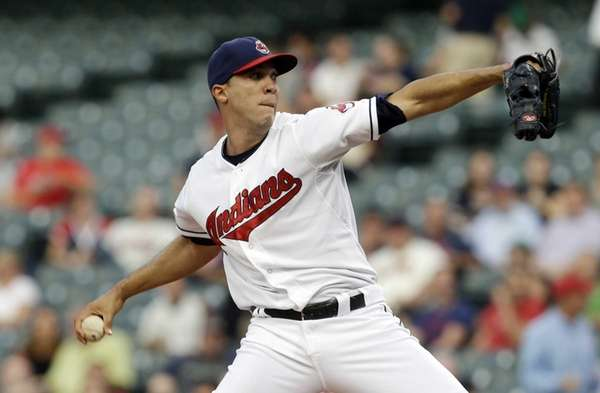 Cleveland Indians starting pitcher Ubaldo Jimenez delivers in