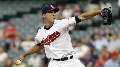 Cleveland Indians starting pitcher Ubaldo Jimenez delivers in