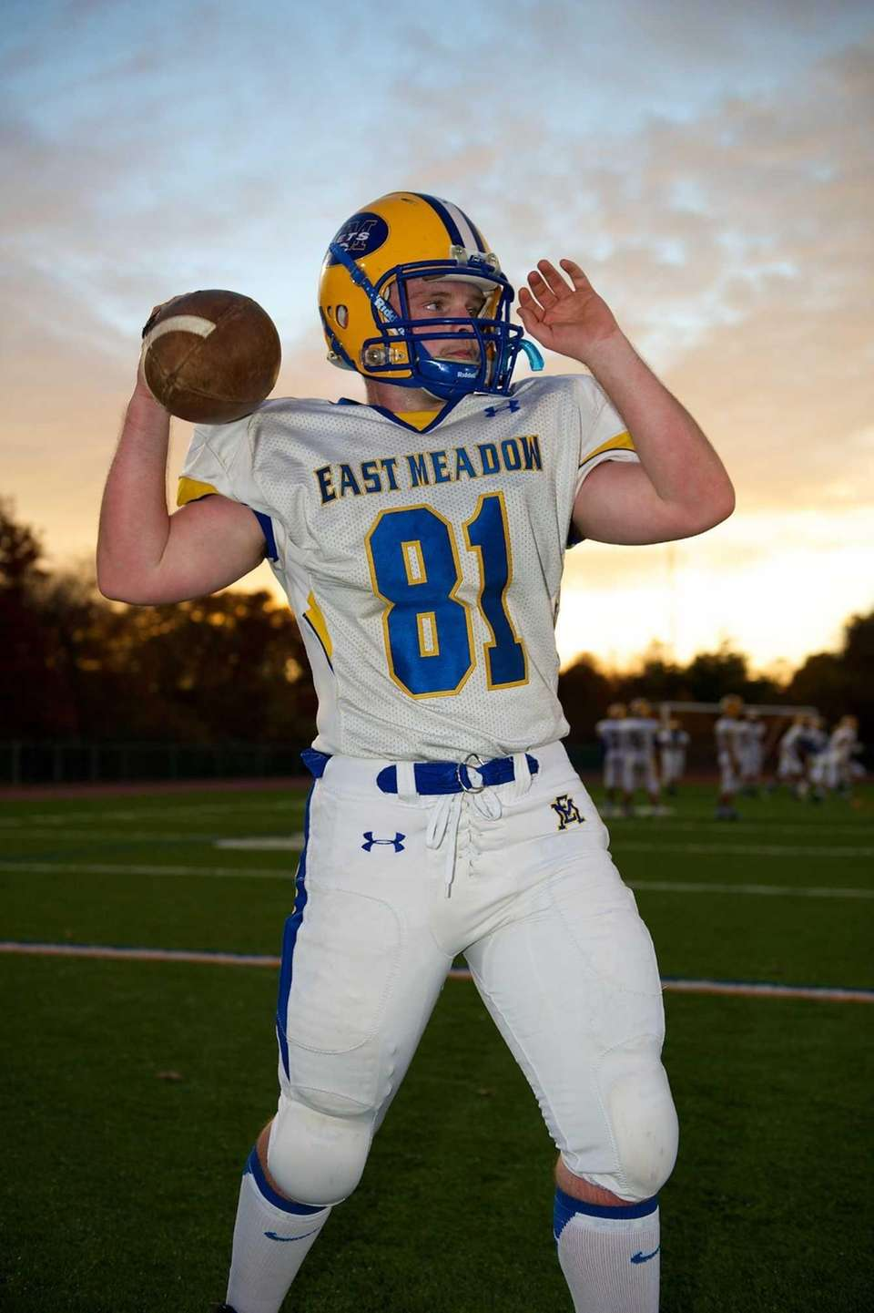 East Meadow running back Chris Lodati warms up