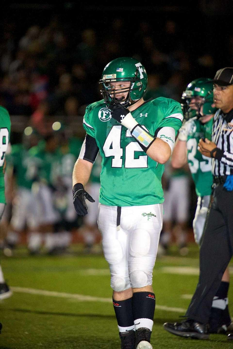 Farmingdale defensive lineman Tom Ammirati gets into position