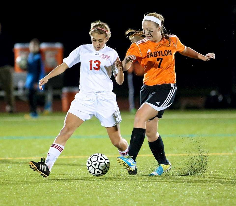 Center Moriches' Christina Schumchyk and Babylon's Hallie Merz