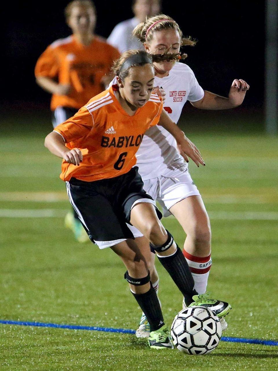 Babylon's Olivia Maldonado controls the ball as Center