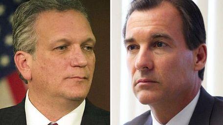 Republican and Nassau County Executive Ed Mangano, left,